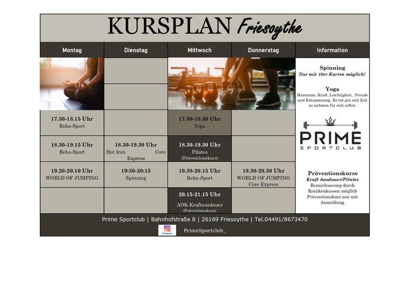 Prime Sportclub Kursplan