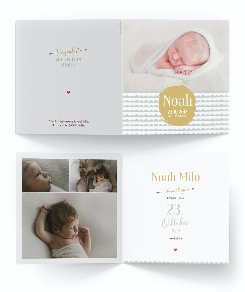 Geburtskarte Geburtsanzeige 4 Seiten kartendings.ch Schweiz kreativ günstig speziell
