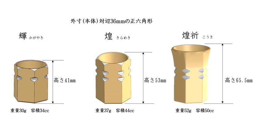 アルミ製の酒器「人肌」盃 輝と煌のサイズの説明。