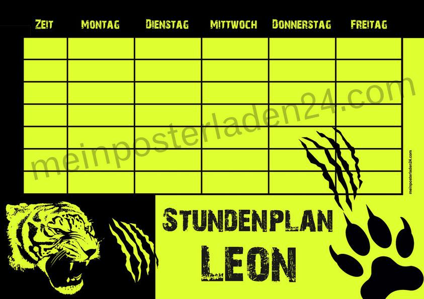 Stundenplan für die Grundschule mit Tiger, gedruckt auf gelbes Neonpapier, abwaschbar