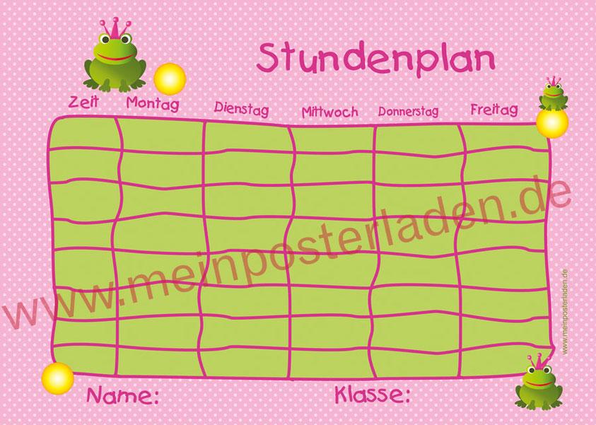 A4 Stundenplan mit Froschkönig in rosa - pink, personalisierbar, optional wiederbeschreibbar