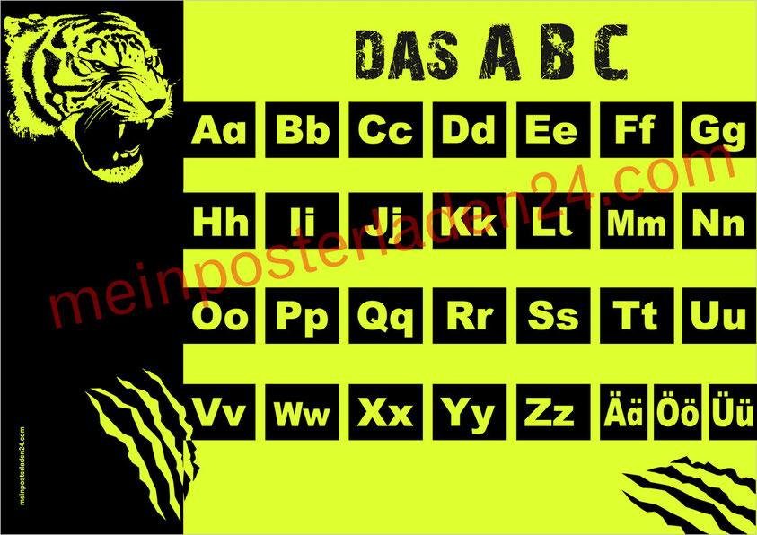 ABC Lernposter für die Grundschule Tiger, gedruckt auf gelbes Neonpapier, abwaschbar