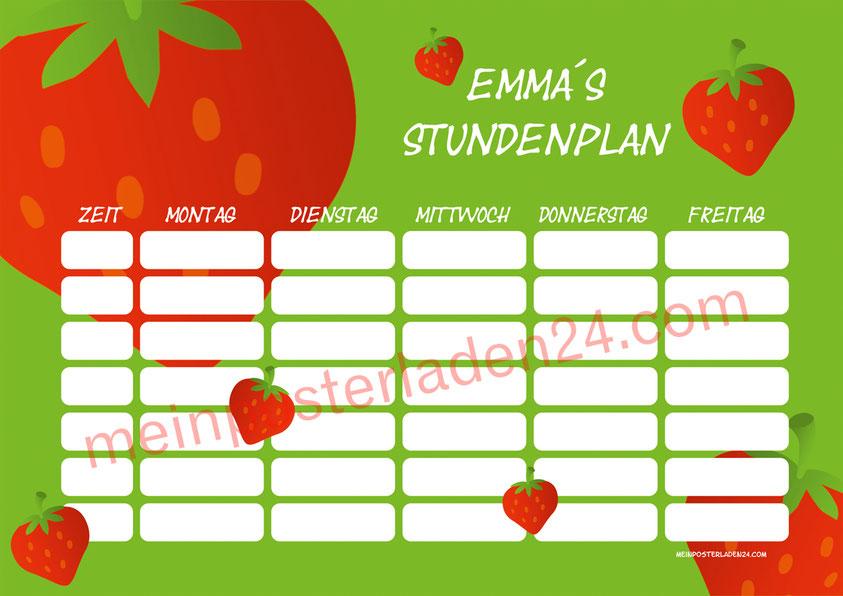 A4 Stundenplan mit Erdbeer Motiv, personalisierbar, optional wiederbeschreibbar