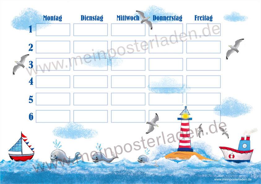 A4 Stundenplan mit Leuchtturm, Wale und Schiffe - liebevoll selbst gemalte Motive - optional wiederbeschreibbar
