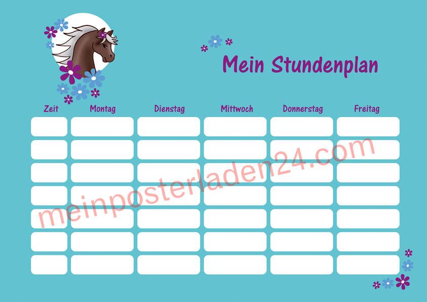 A4 Stundenplan mit Blümchen in türkis mit niedlichen Pony, optional wiederbeschreibbar