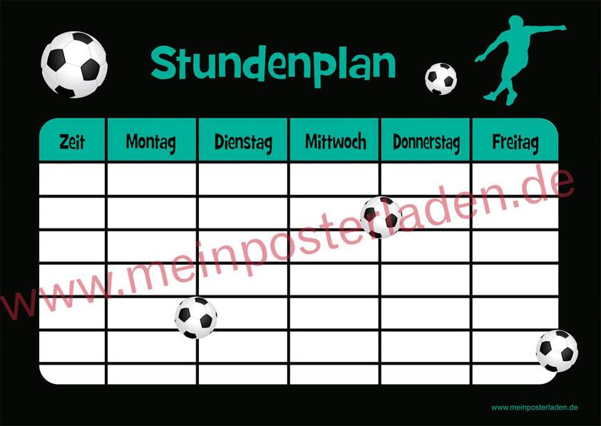 A4 Stundenplan Fußball - personalisierbar und optional wiederbeschreibbar