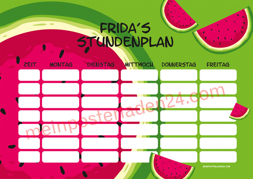 A4 Stundenplan mit Melone Motiv, personalisierbar, optional wiederbeschreibbar