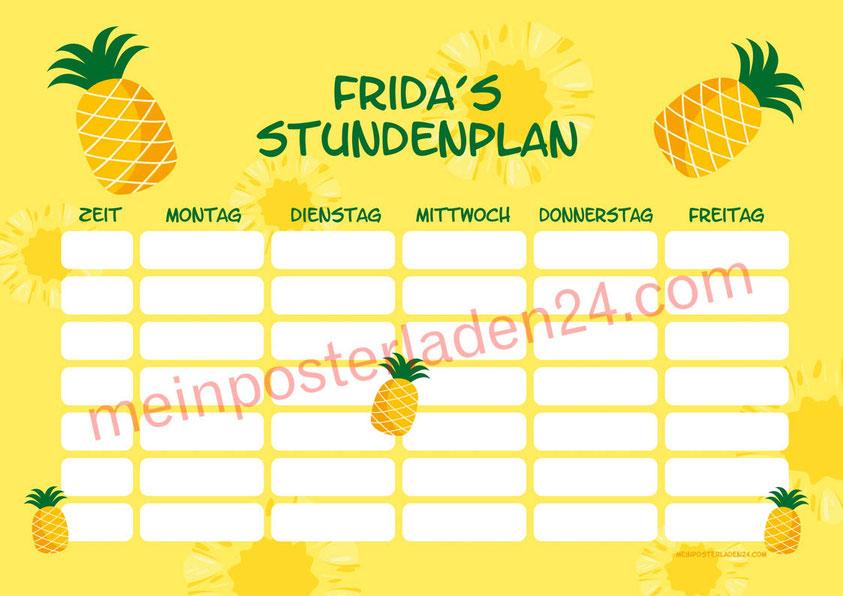 A4 Stundenplan mit Ananas Motiv, personalisierbar, optional wiederbeschreibbar