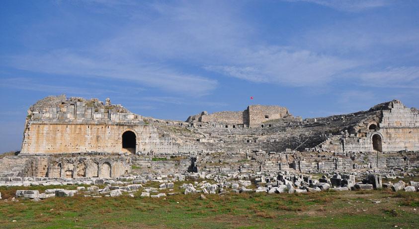 Römisches Theater von Milet, unter dem römischen Kaiser Trajan (98 -117 n.Chr.) erbaut