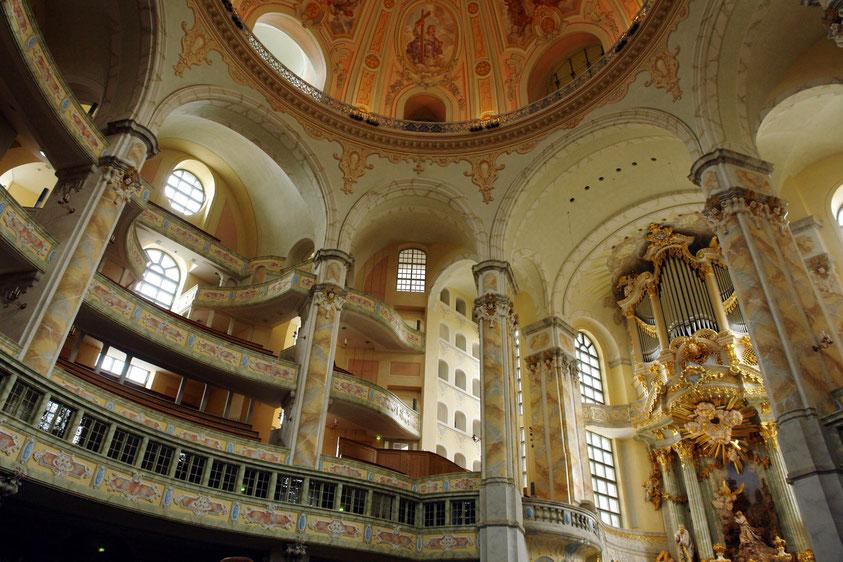 Frauenkirche in Dresden, ein prachtvolles barockes Zeugnis des protestantischen Sakralbaus  (11.3.2008)
