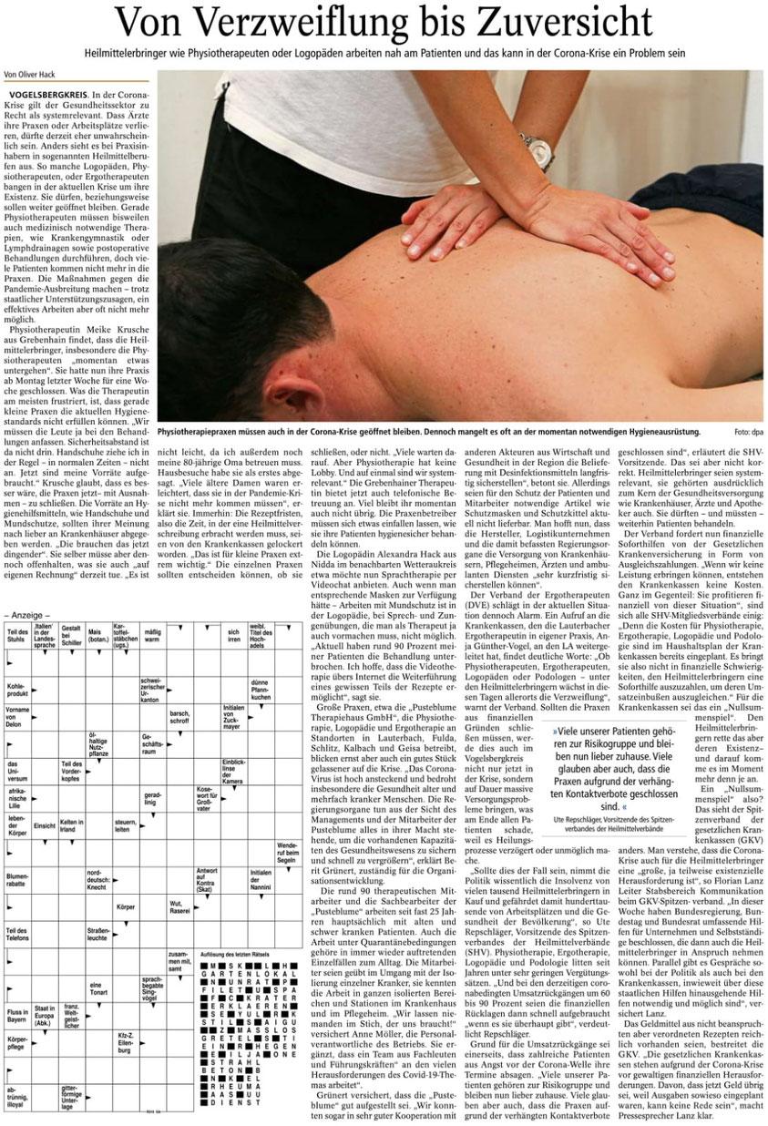 """Zeitung """"Lauterbacher Anzeiger"""" berichtete über das Thema am 21.03.2020"""