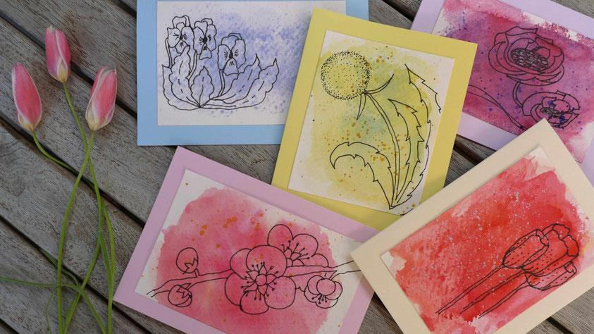Aquarellgrußkarten für Anfänger - Frühlingsblumen - DIY