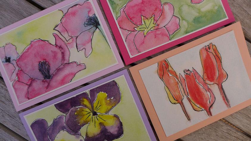 Grußkarten mit Tuschestift und Aquarell für Anfänger