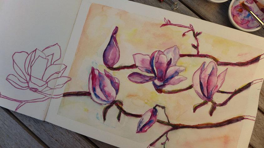 Inspiration - Magnolienblüten in Aquarell skizzieren - DIY-Projekt