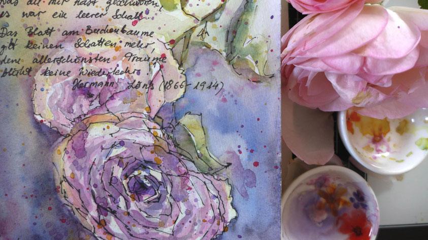 Inspiration - Rosen in Aquarell skizzieren - DIY-Projekt