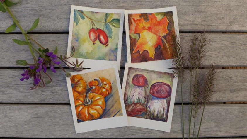 Inspiration - Retro Herbstbilder in Aquarell malen - DIY-Projekt