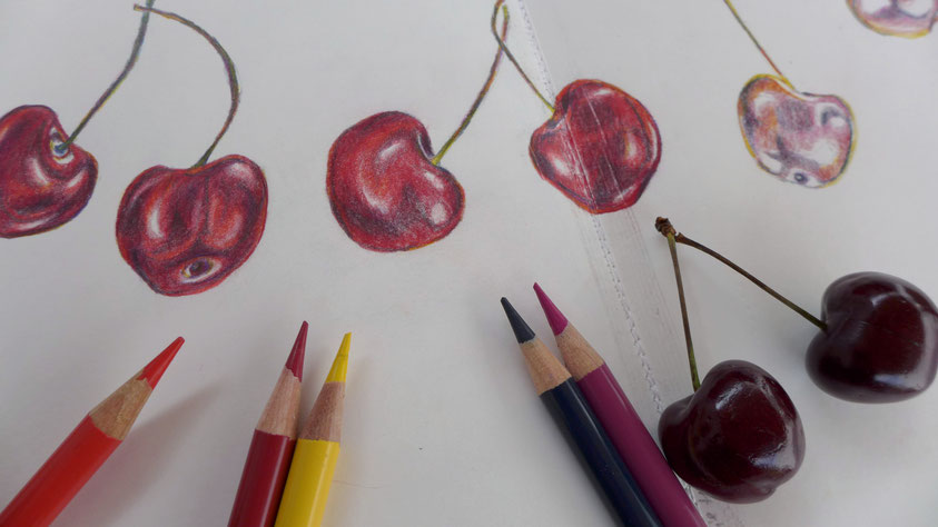 Inspiration - Kirschen mit Farbstiften skizzieren - DIY-Projekt