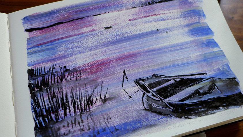 Inspiration - Boot auf dem See mit Tuschepinsel skizzieren