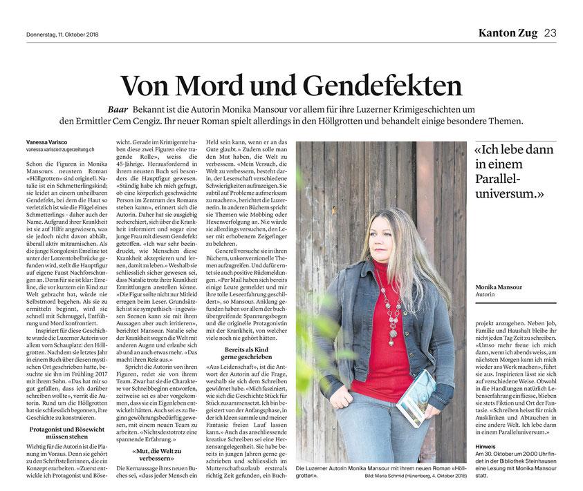 Pressebericht in der Zuger Zeitung zu Höllgrotten - ein Krimi von Monika Mansour