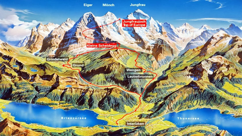 Jungfraujoch Top of Europe route map options