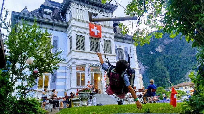 Interlaken Adventure hostel Swiss Villa Hostel garden 1