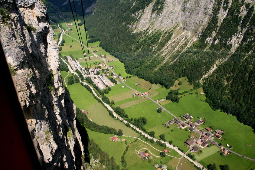Looking upon Stechelberg from the cable car up to Gimmelwald