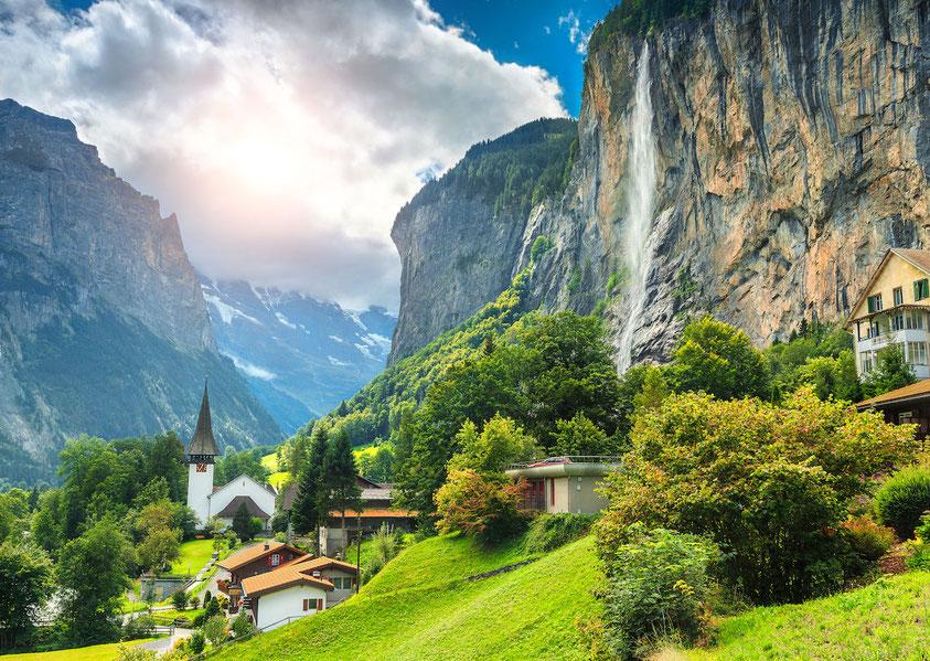 Lauterbrunnen and the Staubbach waterfall
