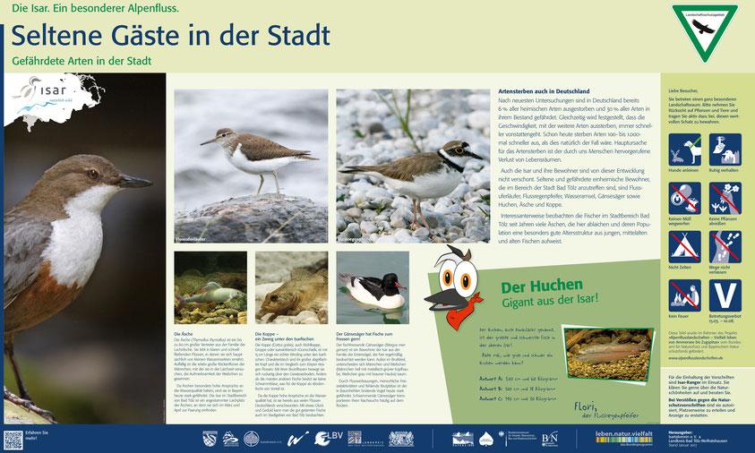 Tafel, die auf Naturschätze im Stadtgebiet von Bad Tölz hinweist