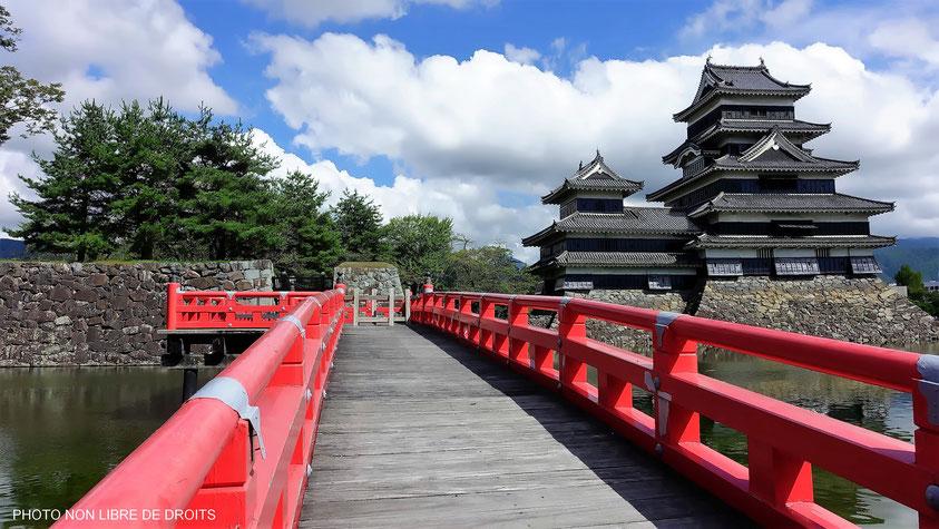 Château emblématique, Matsumoto-Jô, Japon, photo non libre de droits