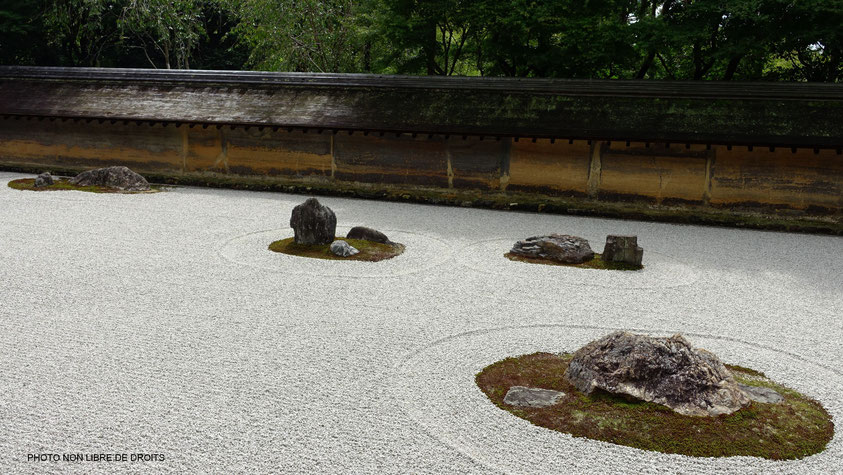 Méditation Zen, Ryoan-Ji, Kyoto, photo non libre de droits