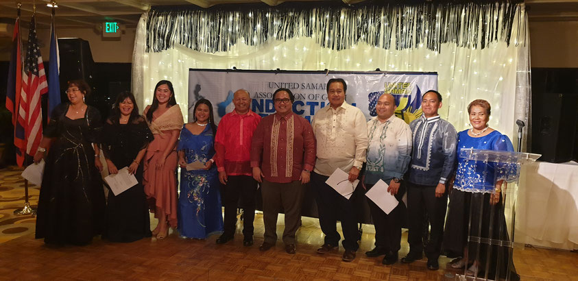 Consul Mark Francis C. Hamoy (5th from right), Acting Head of Post of the Philippine Consulate General in Agana, administered the oath of office of the new officers of the United Samar Association of Guam (USAG).