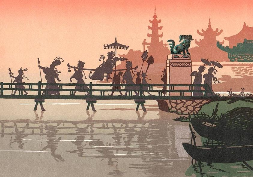 Le pont de bambou, 2. Lucien Métivet (1863-1932) : Aladin. Ombres chinoises en quinze tableaux. Flammarion, Paris, 1904 Première représentation en février 1904 au Théâtre des Mathurins