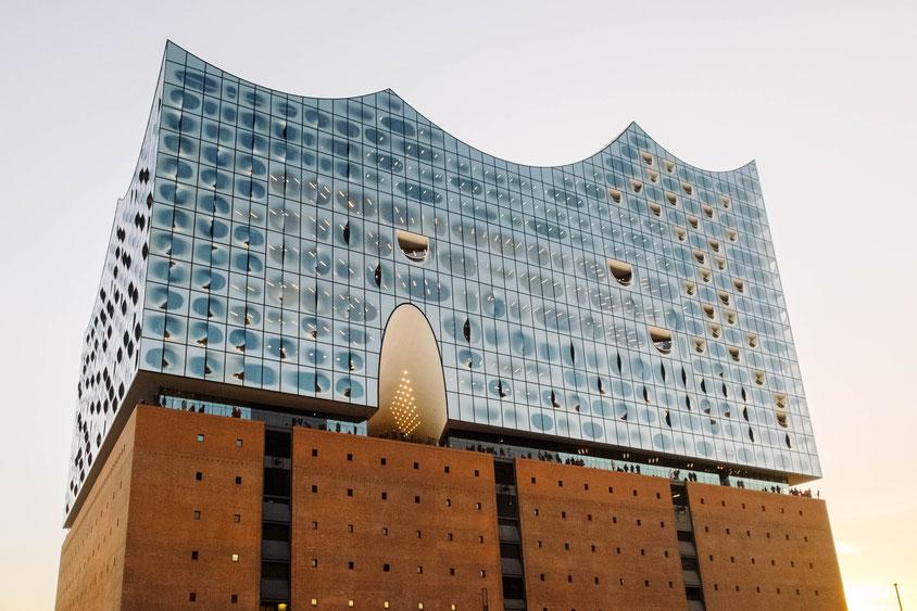 Elbphilharmonie Hamburg, Nordseite, aufgenommen vom Kaiserkai