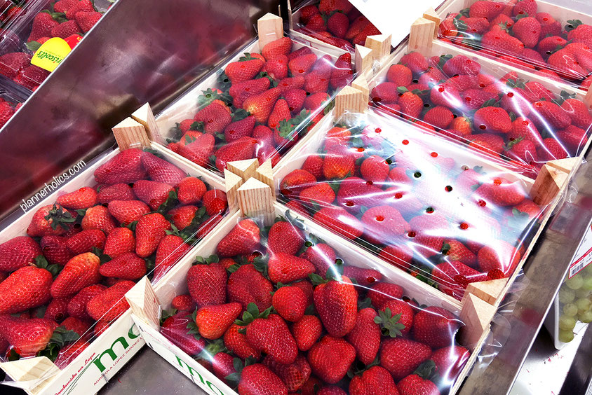 strawberry crates in the supermarket