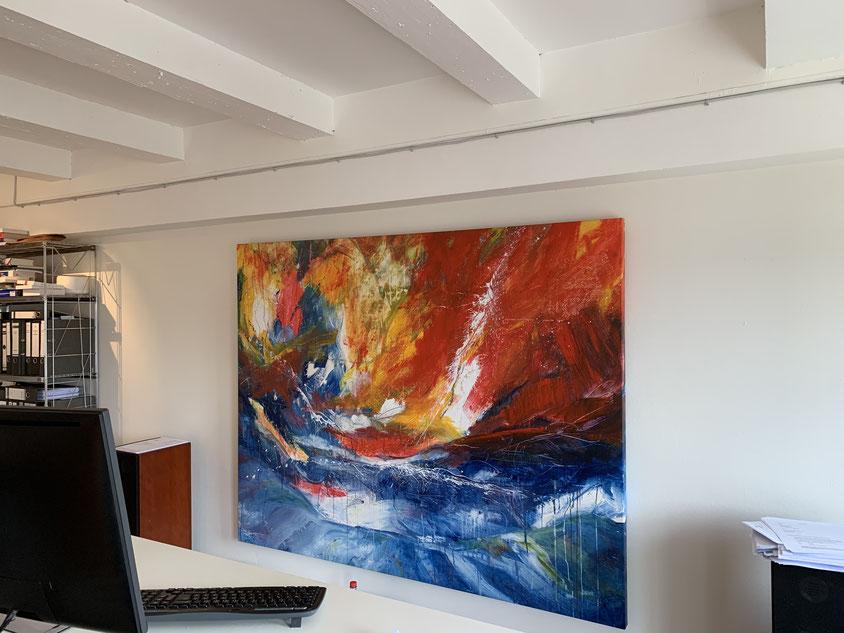 abstraktes Gemälde orange blau