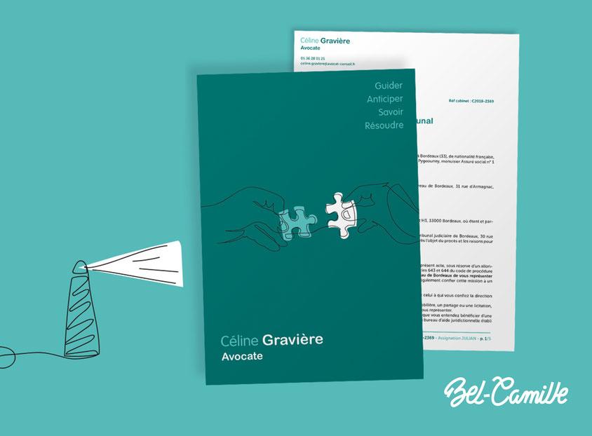 Pochette A4 et papier entête réalisés par Bel-Camille graphiste