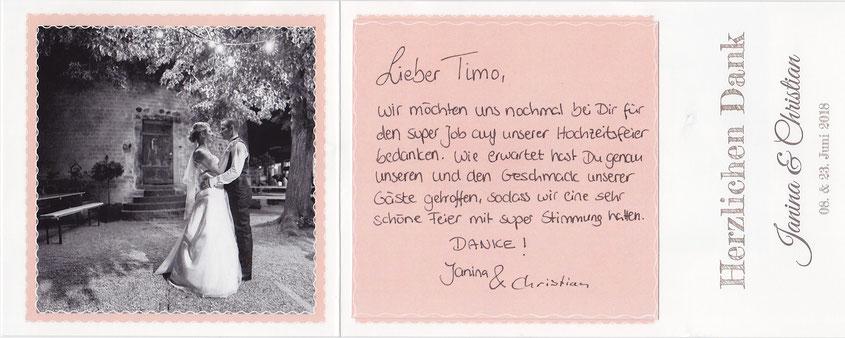 Hochzeitsdj auf der Godesburg Bonn - Lob des Hochzeitspaares