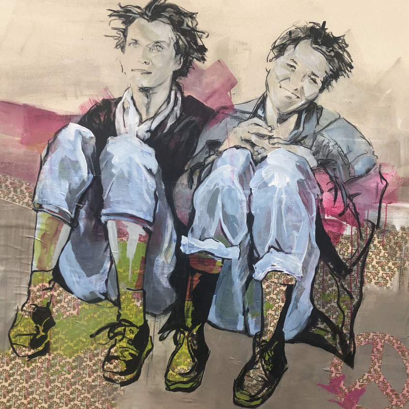 """""""Waiting Room"""" heißt das Bild und ist im Jahr 2021 erstellt und verkauft worden. Es ist 140 cm mal 140 cm groß , mit Acryl und Kohle auf Leinwand und Stoff gezeichnet u. gemalt, sold"""