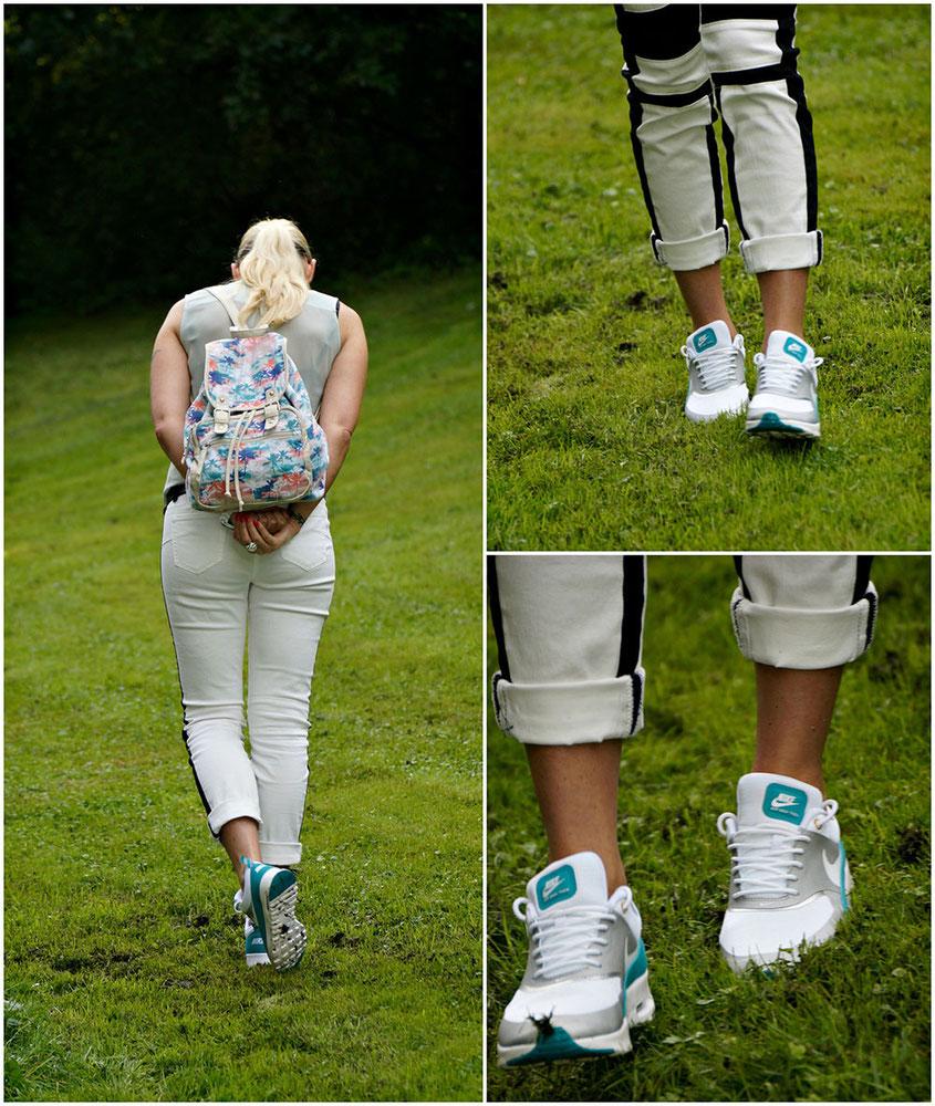 Franny´s erstes echtes Outfit | Ein Selbstversuch auf einem Lifestyle Blog | Franny´s Lieblingsstyle: ne stylishe Laura Scott Bikerhose & Nike Air Max Thea & eine Chiffon Bluse