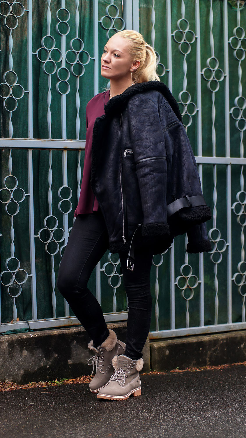 Outfit | Winter Style | WRST BHVR Shearling Jacket X Mustang Schnür Boots | Ready for Snow | hot-port.de | 30+ Style Blog