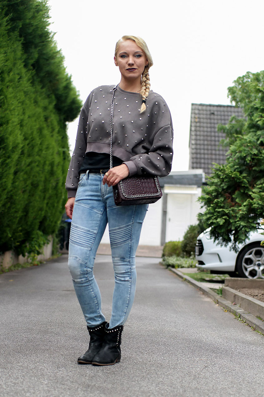 Herbstlook | Zara Nietenpulli & G-Star 5620 Custom Mid Biker Jeans | hot-port.de | Lifestyle & Fashion Blog