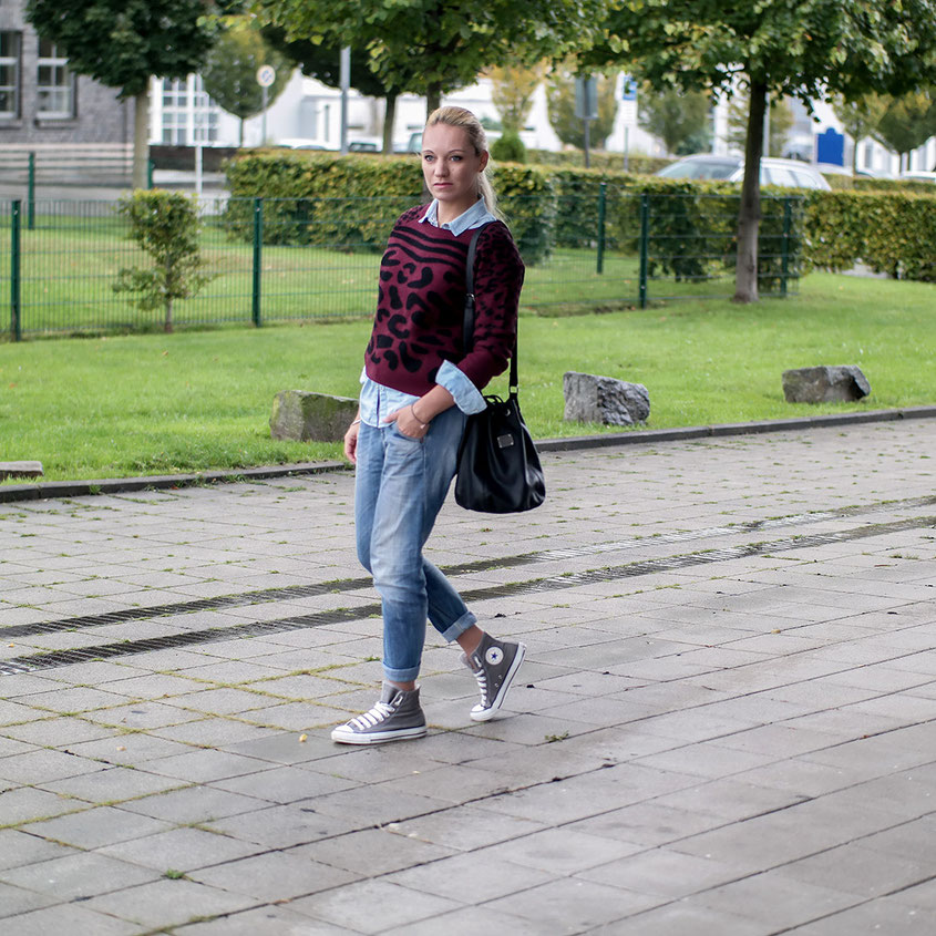 Outfit | Sporty Boyfriend Look aus Converse Chucks - Diesel Jeans & Vintage Leo Pulli aus der Zalando Collection | hot-port.de | 30+ Fashion Blog