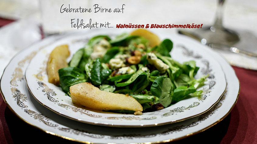 Festtagsschmaus | Coole Blogger Gourmet Ideen für genussvolle Weihnachten | Feldsalat mit Birne