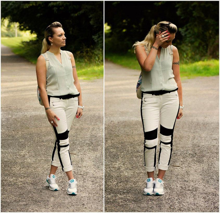 Franny´s erstes echtes Outfit | Ein Selbstversuch auf einem Lifestyle Blog | Kann das gutgehen? Outfit: Laura Scott Bikerhose | H&M Chiffonbluse | Nike Air Max Thea Metallic Silber Trendschuhe