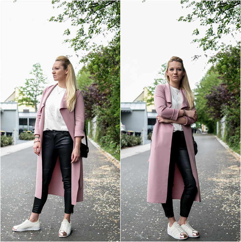 Outfit | Cream & Gold | Fabletics Fashion Top with Fake Leather Leggings, Pretty Little Thing Scuba Waterfall Coat & Adidas Superstar Metal Toe | hot-port.de | 30+ Fashion & Lifestyle Blog