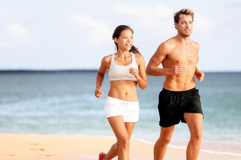 Jogging am Strand