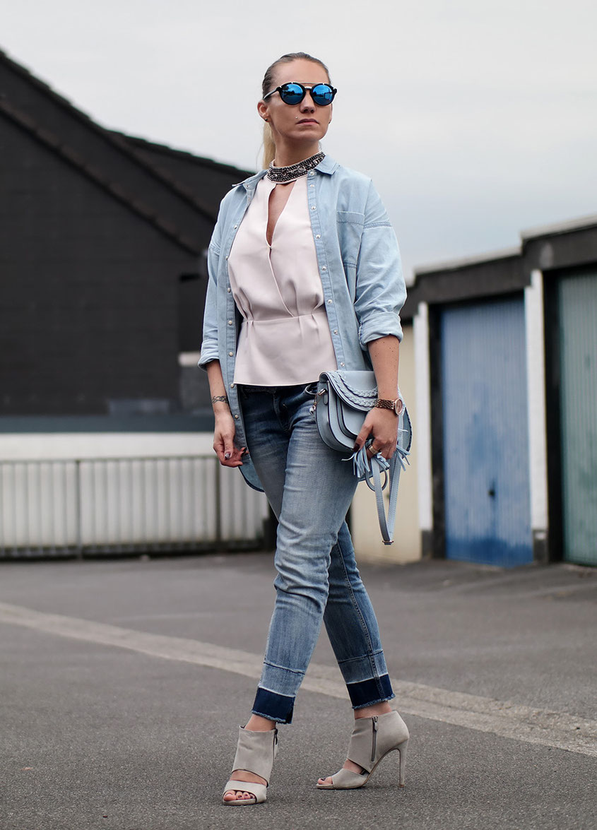 Outfit Light Blue | Zara Jeanshemd Maui & Sons and Guess Glamour Shirt | hot-port.de | 30+ Style Blog