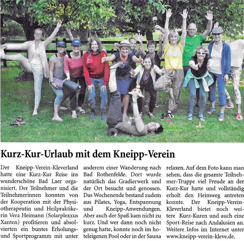 Kurz-Kur-Urlaub in Bad Laer mit dem Kneipp-Verein Kleve.