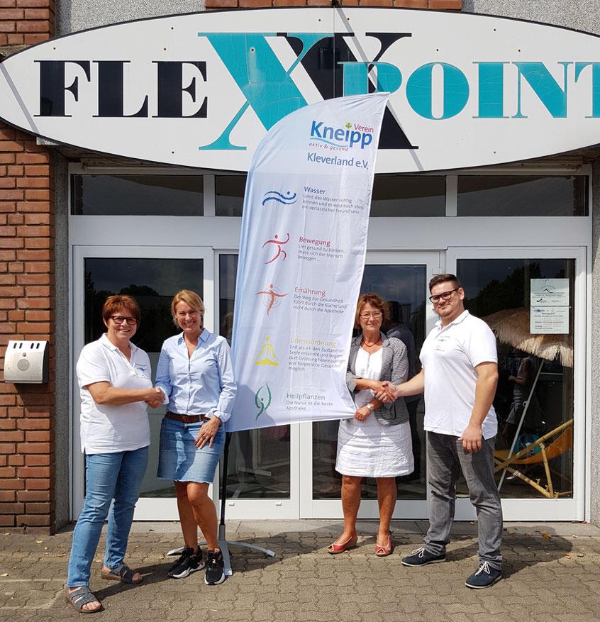 Neue Kooperationspartner mit den 1. Vorsitzenden vom Kneipp-Verein und Flexxpoint.