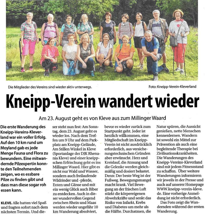 Gruppenbild der Wanderung des Kneipp-Verein Kleve.